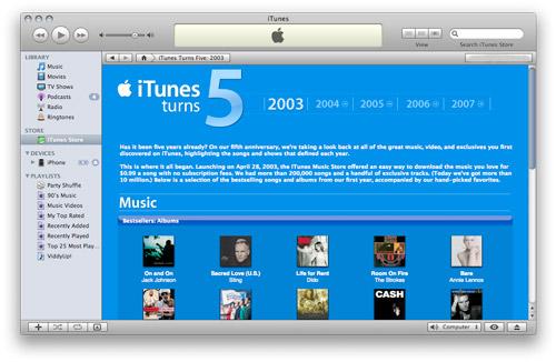 iTunes fem år