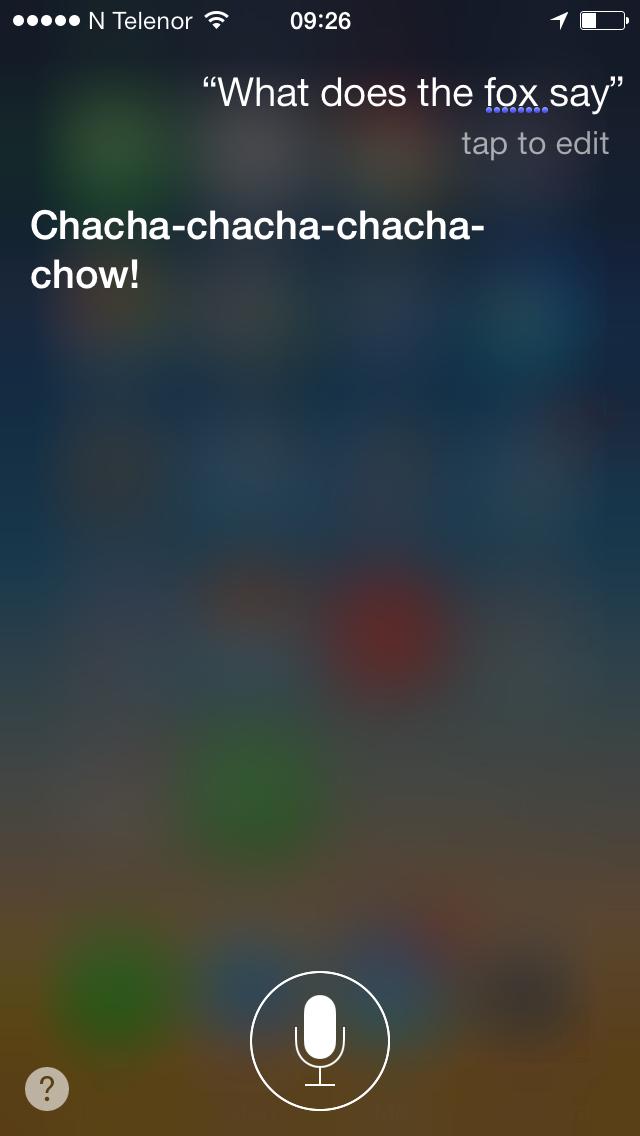 Siri gir svar på What does the for say