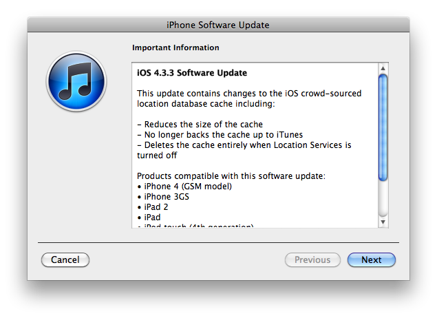 Apple oppdaterer iOS til 4.3.3