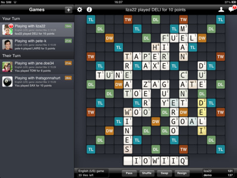 Wordfeud nå for iPad