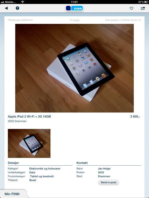 Finn.no klar for iPad