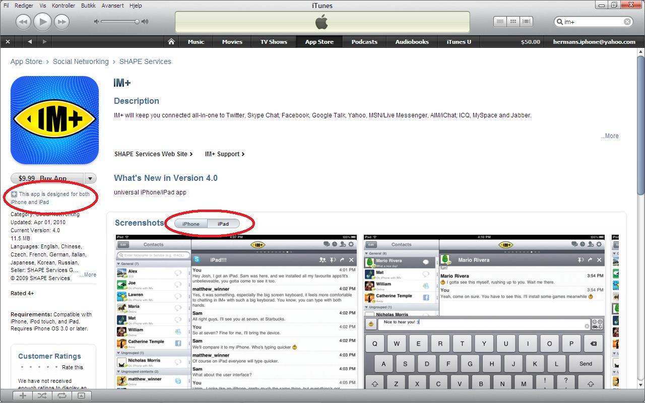 Slik er iPad app store i iTunes