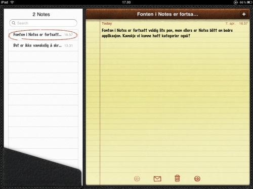 Notater på iPad