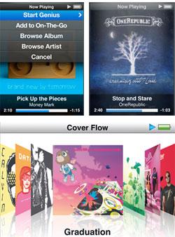 Grensesnittet til ny iPod nano 5G