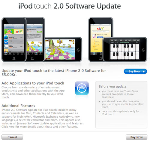 Apple oppdatering til iPod touch