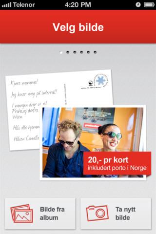 Posten lar deg sende postkort med iPhone