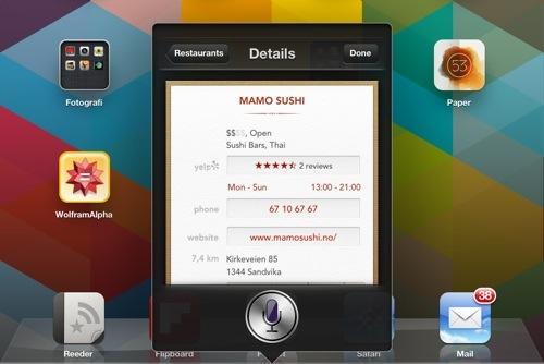 Siri kan nå anbefale restauranter i Norge
